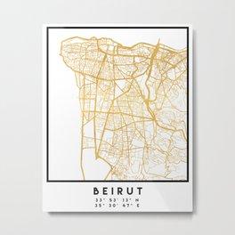 BEIRUT LEBANON CITY STREET MAP ART Metal Print