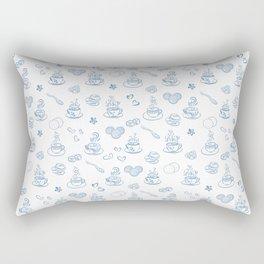 Tea time blue on white Rectangular Pillow