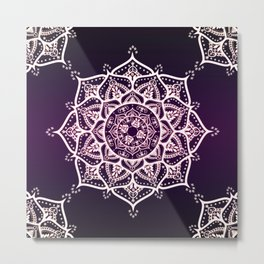 Violet Glowing Spirit Mandala Metal Print