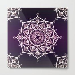 Violet Glowing Spirit Mandala Metal Print