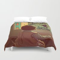 bigfoot Duvet Covers featuring Hello Bigfoot! by Silvio Ledbetter