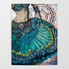 Turquoise Twirling Poster