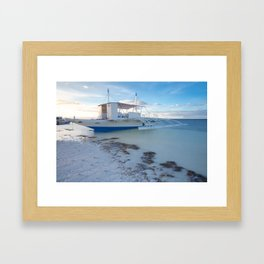 Traditional Filipino boat on the beach, Philippines Framed Art Print
