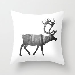 Moose Silhouette | Forest Photography Throw Pillow