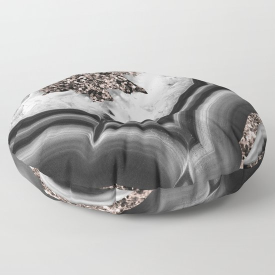 Gray Black White Agate with Rose Gold Glitter #2 #gem #decor #art #society6 by anitabellajantz