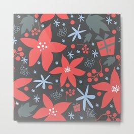 Winter Poinsettia Metal Print