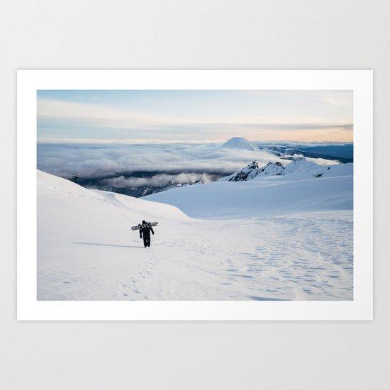 Hiking to the top of Tongariro Art Print
