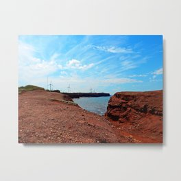 Cliffside Wind Turbines Metal Print