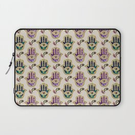 Hamsa Hand pattern - marble, amethyst and gold Laptop Sleeve