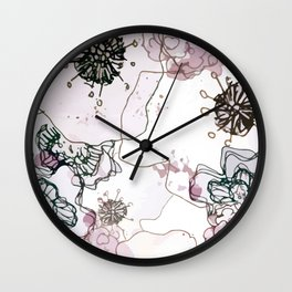 Pollination in Purple Wall Clock