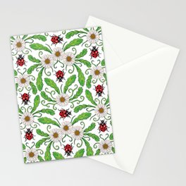 Ladybugs & Daisies - Cute Floral Bug Pattern with Ladybirds Stationery Cards