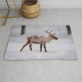 Little reindeer in the snow Rug