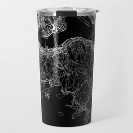Hong Kong Black Map Travel Mug