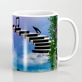 Music, piano with birds and butterflies Coffee Mug