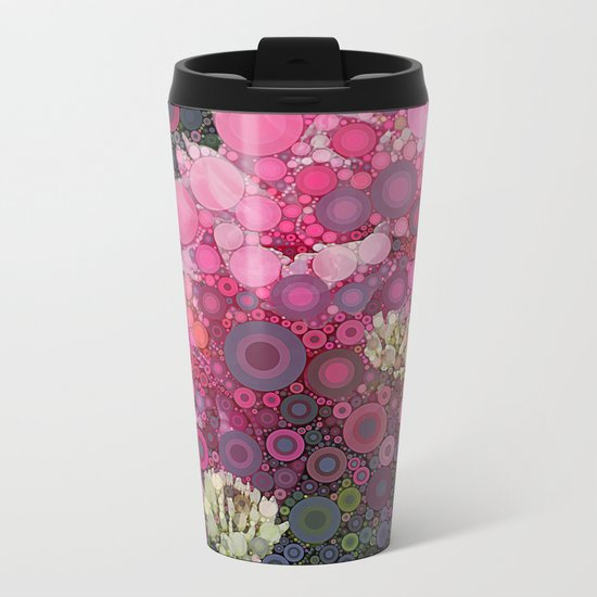 Pink Flowers at Twilight Abstract Metal Travel Mug