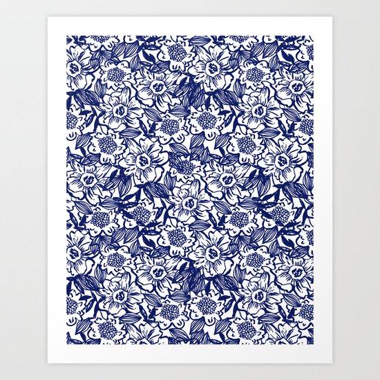 Indigo Florals watercolor painterly botanical boho pattern print nature spring summer monochromatic Art Print