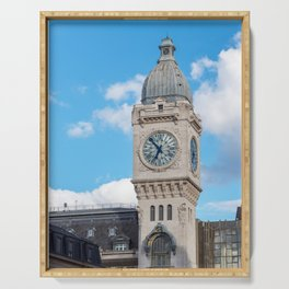 Clock Tower of the Gare de Lyon in Paris Serving Tray