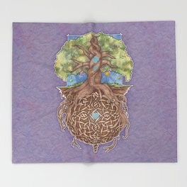 Gaia Life Tree Yggdrasil Throw Blanket