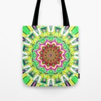 lime green Tote Bags featuring Lime Green Citrus Abstract by Phil Perkins