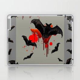 GREY ART OF FLYING BLACK BATS BLOODY  HALLOWEEN PARTY Laptop & iPad Skin