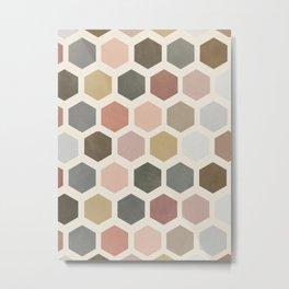 mod hive | organic honeycomb pattern in muted tones Metal Print