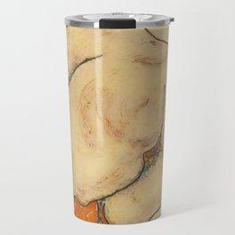 """Egon Schiele """"Ruckenakt mit orangefarbenen strumpfen"""" Travel Mug"""