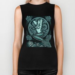 Blue Mermaid - Monochrome Biker Tank