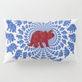 Dinosaur Fractal Print in Blue and Red Pillow Sham