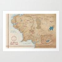 middle earth Art Prints featuring Map of Middle Earth by Kaz Palladino