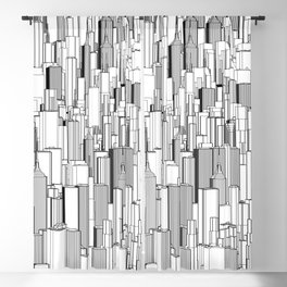 Tall city B&W / Lineart city pattern Blackout Curtain