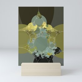 courtney - abstract design of pale aquamarine chartreuse green taupe brown Mini Art Print