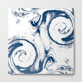 marble suminigashi spilled ink watercolor painting navy painterly abstract art Metal Print