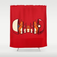 squirtle Shower Curtains featuring Poketryoshka - Fire Type by Michael B. Myers Jr.