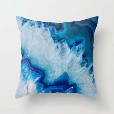 Royally Blue Agate Throw Pillow