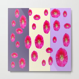 PINK-CERISE ASSORTED FLOATING HOLLYHOCK FLOWERS Metal Print