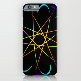 Guilloche Violet and galactic signs. Four neon objects for a certificate or a voucher. iPhone Case