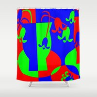 leah flores Shower Curtains featuring Flores by DARWIN STEAD