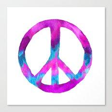 Purple Blue Watercolor Peace Sign Canvas Print