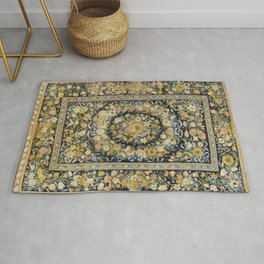 Louis XIV Savonnerie French Floral Carpet Print Rug