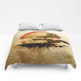 Bonsai Tree In The Sunset Comforters