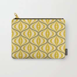 Retro Mid-Century Saucer Pattern in Yellow, Gray, Cream Carry-All Pouch