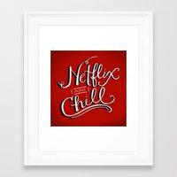 netflix Framed Art Prints featuring Netflix & Chill by Keri O'Mara