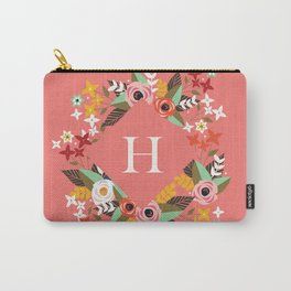 Salmon Floral Monogram H Carry-All Pouch