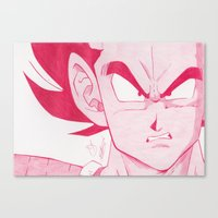 vegeta Canvas Prints featuring Vegeta Red by DeMoose_Art