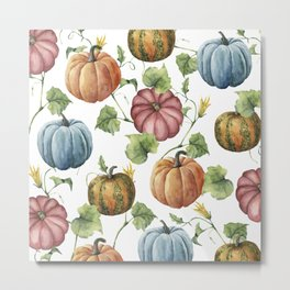 PUMPKINS WATERCOLOR Metal Print