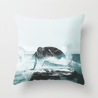 mermaid Throw Pillows featuring Mermaid by fly fly away