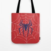spider Tote Bags featuring Spider by Vickn