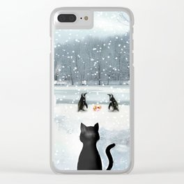 Cat on tour Clear iPhone Case