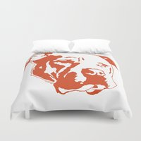 pitbull Duvet Covers featuring COACH - ORANGE by Kirk Scott