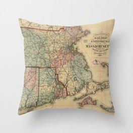 Vintage Massachusetts Railroad Map (1879) Throw Pillow